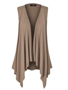 Shop MBJ Womens Lightweight Sleeveless Draped Open Cardigan - Made in USA - - and Discover the latest fashion and trends in Women's Sweaters at Affordable Price. Sleeveless Cardigan, Drape Cardigan, Open Cardigan, Curvy Girl Fashion, Boho Fashion, Fashion Outfits, Fashion 2018, Ladies Fashion, Fashion Ideas