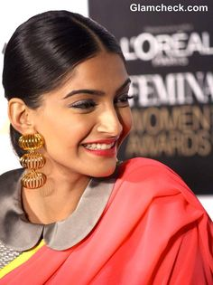 Sonam Kapoor wears Masaba Gupta Sari with Peter Pan collar Blouse