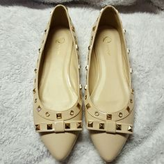 Studded Flats Q by Esquire Q by Esquire studded flats.  New. Nude. Size 10 They've been sitting in my closet since I bought them! May have a few scuffs from other shoes in my closet bute NEVER WORN! Shoes Flats & Loafers