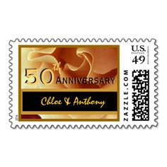50th Anniversary Party GOLD and BLACK Wedding Rose Stamp www.zazzle.com/jaclinart*  #jaclinart #gold #wedding #invitations  #roses #vintage #monogram