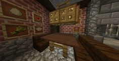 Eating area in hobbit hole.  I love the item frames for cute wall pictures.