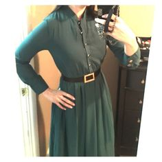 Green dress  Brand new never worn green dress comes with black belt Dresses Long Sleeve
