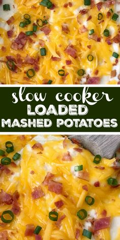 Loaded mashed potatoes made right in your slow cooker! Creamy, smooth mashed potatoes loaded with cheese, bacon, and green onions. So easy to make. Twice Baked Mashed Potatoes, Crock Pot Baked Potatoes, Loaded Mashed Potato Casserole, Potatoe Casserole Recipes, Mashed Potato Recipes, Cheese Potatoes, Mashed Potatoes Recipe With Bacon, Slow Cooker Potatoes Mashed, Instapot Mashed Potatoes