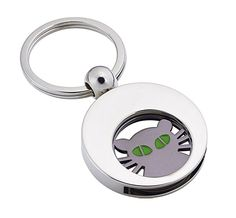 Praktischer Schlüsselanhänger silber-glänzend mit Einkaufswagen-Chip 'Katze'  Material: Metall     Größe: 67 x 34 cm   Gewicht: 28g    Verpackung: Polybeutel