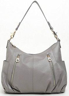 ilishop Women's Fashion Genuine Leather Cross Body Shoulder Bag Satchel Handbag (Grey) - http://leather-handbags-shop.com/ilishop-womens-fashion-genuine-leather-cross-body-shoulder-bag-satchel-handbag-grey/