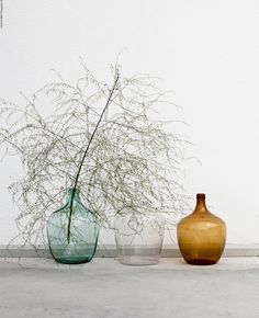large green wine jug with olive branch