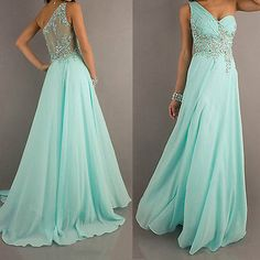 Mint Chiffon Evening Formal Party Ball Gown Prom Bridesmaid Long Wedding Dress