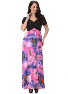 Plus Size Pink Silk Floral Boho Summer Dress With Deep V Neck - iDreamMart.com