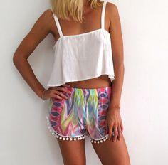 Pom Pom Shorts - Aqua Pastel with White Pom Pom Trim - lightweight chiffon