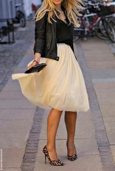 Tulle skirt, leather jacket, animal print stilettos                                                                                                                                                                                 More