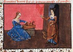 Christine de Pizan Epître d'Othéa, La Haye KB,74 G27, fol 59 v    nice little box loom