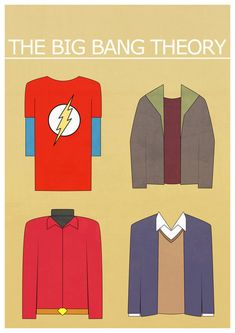 The Big Bang Theory - I love how succinctly the highly conscious, yet deliberately silent interplay, of character and costuming is brought forward in this graphic!