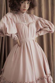 Pure Love Unicolor Chiffon Long Sleeves High Collar Lolita OP Dress