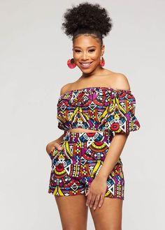 African Print Jumpsuit, African Print Clothing, African Print Fashion, Tribal Fashion, Look Fashion, African Print Top, African Prints, Short African Dresses, Dresses Short