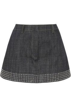 Alaïa - Eyelet-embellished Denim Mini Skirt - Dark denim - FR44