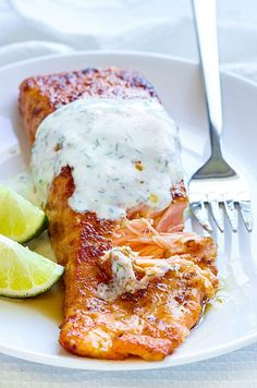 Perfect for a quick dinner right after a long day at work, this sweet and spicy glazed salmon is very easy to make. Top the fillets with a lemon and dill yogurt sauce that's so fresh and so light y…