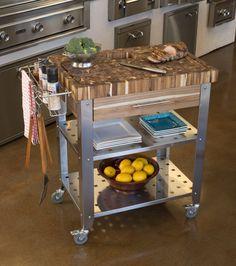 Details Chris U0026 Chris Pro Stadium Kitchen Island Cart With Butcher Block    Natural Wood Overall