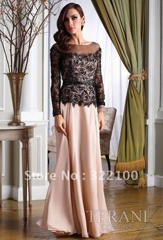 KE9224 free shipping black lace long sleeve evening dress full length $142.66