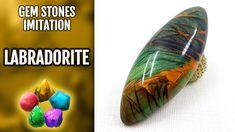 DIY Polymer Clay Realistic Labradorite Gemstone. Gemstone imitation tech...