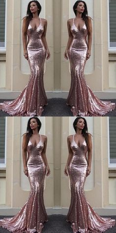 Sexy Backless Rose Gold Sequin Mermaid Evening Prom Dresses, Popular 2018 Party Prom Dresses, Custom Long Prom Dresses, Cheap Formal Prom Dresses, M1433#prom #promdress #promdresses #longpromdress #promgowns #promgown #2018style #newfashion #newstyles #2018newprom #eveninggown #backless #sequin #roesgold #mermaid #vneckline #sexy