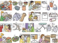 Learning the vocabulary for laundry - washing clothes. English lesson PDF