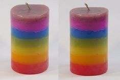 Rainbow Design Fragrance Pillar Candle-Set of 2 Scented Pillar Candles, Candle Set, Fragrance, Rainbow, Design, Rain Bow, Rainbows, Design Comics