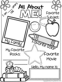 Use this All About Me sheet as a beginning of year activity. Students can work on this as they are walking into the classroom on the first day of school, while you are busy talking to parents and getting others settled. This sheet can also be used as a gu First Day Of School Activities, 1st Day Of School, School Tips, School Ideas, All About Me Activities, School School, All About Me Preschool Theme, All About Me Crafts, High School