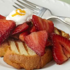 Grilled Pound Cake and Aged Balsamic Macerated Strawberries from Stonewall Kitchen