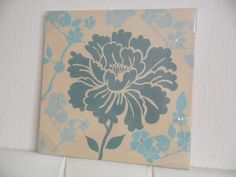 Teal & Blue Diamante Flower Floral Canvas Wall Art Picture Chic
