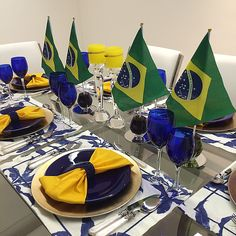 #brasil #tablescape #tablesetting #flag #blue #decor #worldcup #decor