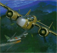 Northrop P-61A-1 'Jap Batty' serial 42-5528 del 6 NFS, Saipan, 1944. Lleva un murcielago como emblema pintado sobre un circulo blanco.