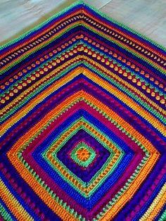 Manta Mix, free (Spanish) tutorial by Antara Celetna; Google translate is only somewhat helpful.   . . . .   ღTrish W ~ http://www.pinterest.com/trishw/  . . . . #crochet #afghan #blanket #throw #mixed_stitch