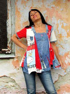 L-XL Crazy pop art recycled denim jeans dress tunic by jamfashion