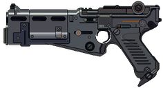 Luger Model 1960 is toggle-locked, short recoil selective fire pistol chambered in Parabellum from Wolfenstein's alternate sixties ruled by nazis. Sci Fi Weapons, Weapon Concept Art, Fantasy Weapons, Weapons Guns, Star Wars Droids, Star Wars Rpg, Sci Fi Pistol, Blaster Star Wars, Future Weapons