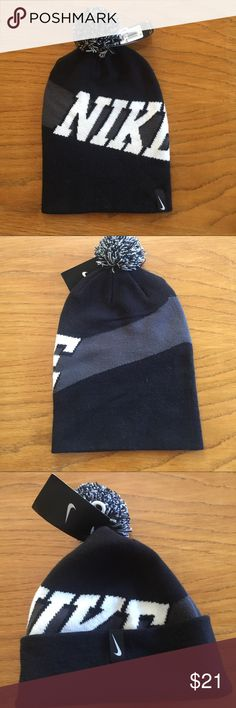 Nike Knitted Hat ▪️Grey, Black and Cream Colors.  Fold up for a different look...says OSFM - makes me think it could fit a Teenage Boy or Man even... Nike Accessories Hats