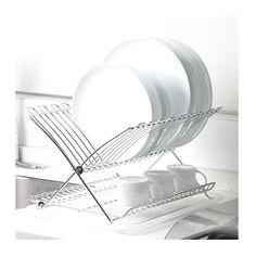 Medida 31 x 40 x 26 cm. Práctico y útil escurridor plegable para platos. Permite colocar una gran cantidad de platos. Tazas. Vasos etc. Con charola plástica para drenar el agua. Se guarda con facilidad y ahorra espacio. Modelo KD38C.