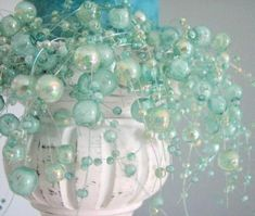 jules: Decor/Accessories - Candle Ring Aqua Beaded and Iridescent 4 in by beachgrasscottage - candle ring, bead