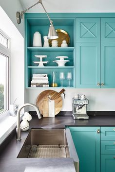 Blue Kitchen Cabinets with Stainless Steel Apson Sink - Contemporary - Kitchen - Benjamin Moore Florida Keys Blue Interior, Kitchen Colors, Kitchen Decor, Interior Design Kitchen, Home Decor, Toronto Interior Design, House Interior, Farmhouse Kitchen Cabinets, Kitchen Design