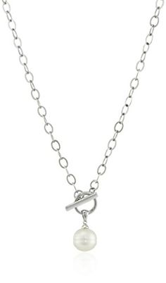 Sterling Silver and Chinese Freshwater Cultured Pearl 11512 mm Toggle Necklace 18 -- More info could be found at the image url.Note:It is affiliate link to Amazon.