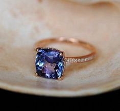 Rose Gold Engagement Ring Lavender Blue Tanzanite cushion cut engagement ring rose gold ring by Eidelprecious. Rose Gold Engagement Ring Lavender Blue Tanzanite cushion cut engagement ring rose gold ring by Eidelprecious. Pretty Rings, Beautiful Rings, Unique Rings, Beautiful Dream, Simple Rings, Jewelry Rings, Jewelery, Gold Jewelry, Fine Jewelry