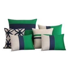 Kelly Green and Navy Pillow Set of 6 by JILLIAN RENE DECOR