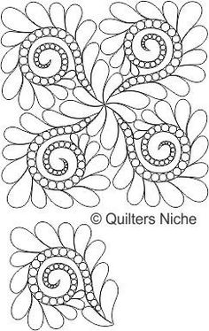 Pearls and Feathers, digitized longarm quilting design by… Quilting Stencils, Quilting Templates, Longarm Quilting, Free Motion Quilting, Quilting Tutorials, Quilting Projects, Machine Quilting Patterns, Quilt Block Patterns, Whole Cloth Quilts