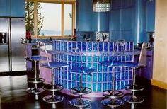 Blue glass block bar