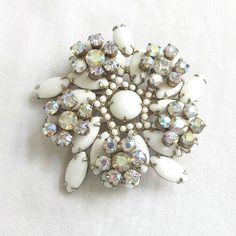 Vintage Verified JULIANA Milk Glass Cabochons & Aurora Borealis Rhinestones Layered Brooch or Pin by MyVintageJewels, $72.00
