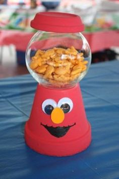 elmo centerpiece but would fill with gum balls super cute