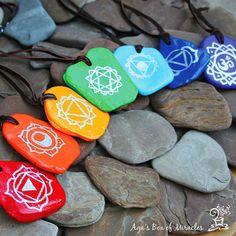 Set of 7 Hand Painted Chakra Stone Necklaces on Leather String, Chakra Jewelry, Mind-Body-Spirit Jewelry, Yoga Jewelry. $177.00, via Etsy.