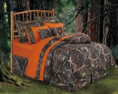 Oak Camo Rustic Comforter Sets from HomeMax Imports. HiEnd Accents take pride in itself as a leader in the luxury rustic oak camo bedding. Camo Bedding, Rustic Comforter, Comforter Sets, Western Bedding, Country Bedding, Country Bedrooms, Unique Bedding, Orange Bedding, Queen Bedding