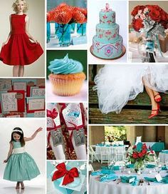 Teal and red wedding. My mom's bridesmaid dresses were teal and I want to add a splash of me in there too!