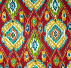 Indoor / Outdoor Weather Resistant Fabric By The Yard - 54 WIDE - Weather, Water, Fade, Soil, and Stain Resistant.  Richloom Losani Pompeii Red - Colorful Ikat Colors Include: - Red, Blue, Yellow, Green, Orange.   100% Spun Polyester Indoor / Outdoor Fabric - Sold By The Yard New - 1 Yard Continuous Cut Fabric - multiple yards available - multiple yards will be cut in one continuous piece - Quantity of Yards may be purchased by using pull down menu at top of listing.   Great of Indoor and…