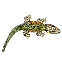 "Pretty sure it's an alligator...Enameled with green, gold, & champagne rinestones Measures: 3.2"" length X…"